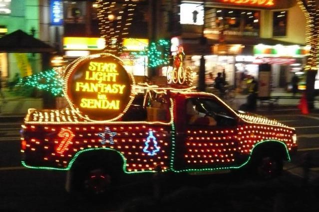 サンタと車