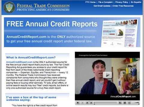 FTC(連邦取引委員会)のAnnualCreditReport.com紹介ページ