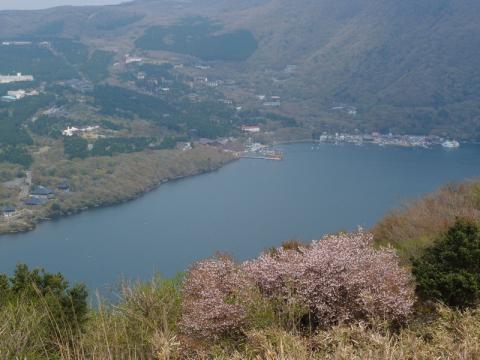 芦ノ湖峠手から芦ノ湖を望む