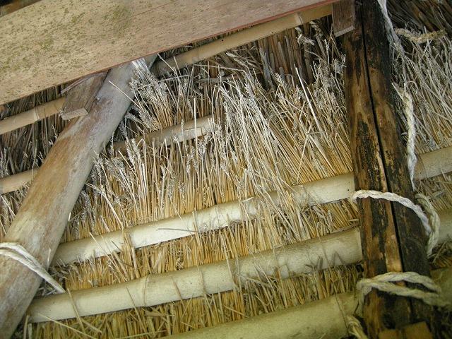 トタンでまいた茅葺の家の軒裏
