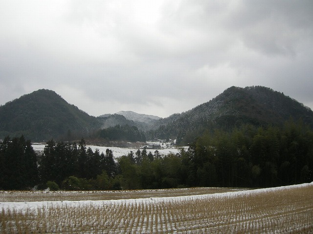 雪の弥富から伊ら尾山を望む