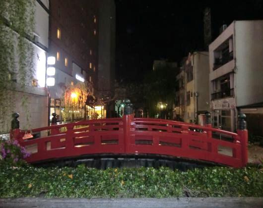 夜間、はりまや橋(横)