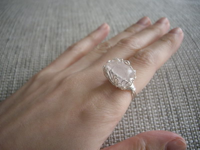 lotus ring rose quartz