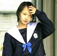 愛セラ 中学生日記 中庭登校 名古屋襟 セーラー服 襟カバー 女子中学生