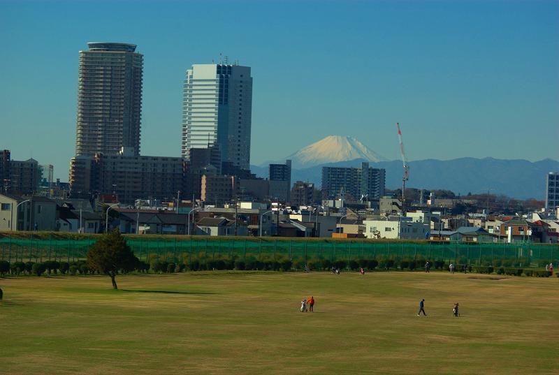 多摩川冬景色富士山00