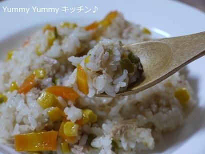 簡単☆お手軽!魚介スープdeツナと野菜の炊き込みピラフ