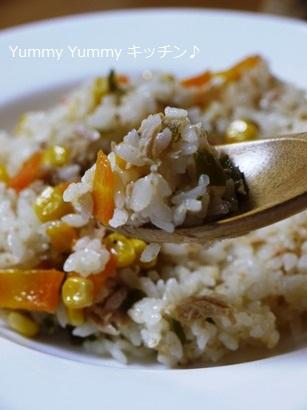簡単☆お手軽!魚介スープdeツナと野菜の炊き込みピラフ♪