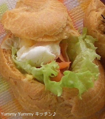 スモークサーモン&クリームチーズシューサンド