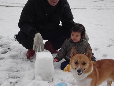 雪とあいたんとらんらんとパパ