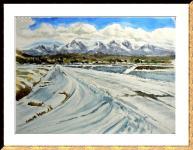 雪の里山(額)