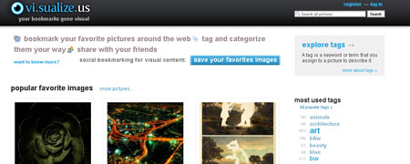 social bookmarking for images on vi.sualize.us