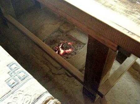 テーブルの下の炉