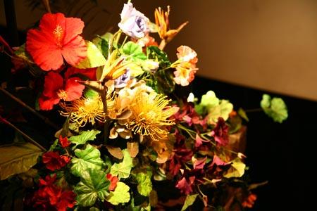 薄く光が当たる赤や黄色の花