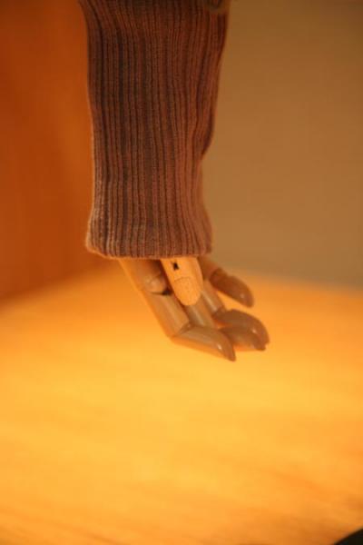 セーターから垂れた木の腕